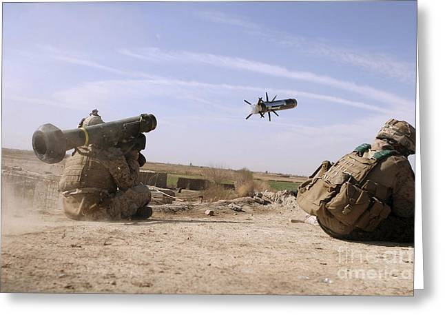 Shoulder-launched Greeting Cards - A U.s. Marine Fires A Javelin Greeting Card by Stocktrek Images