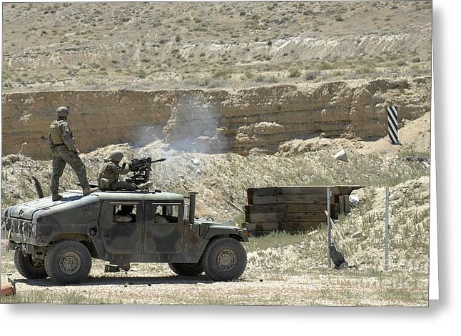 40mm Greeting Cards - A U.s. Marine Fires A Mark 19-3 40mm Greeting Card by Stocktrek Images