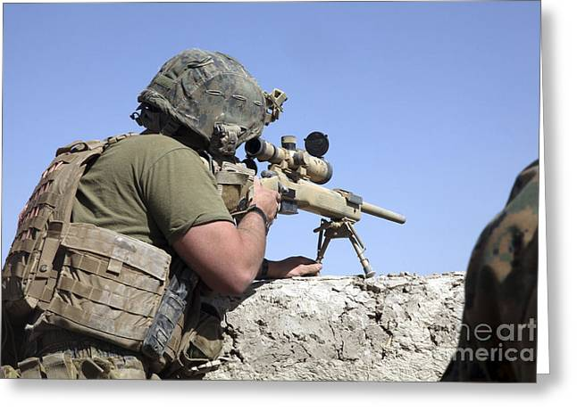 Sangin Greeting Cards - A U.s. Marine Looks Through The Scope Greeting Card by Stocktrek Images