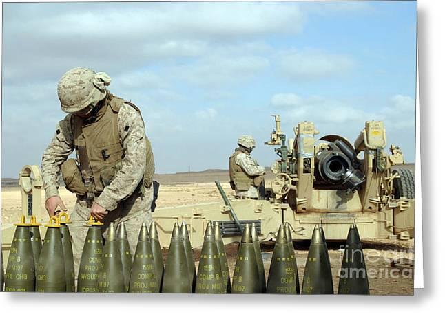 Baghdad Greeting Cards - A U.s. Marine Prepares Howitzer Rounds Greeting Card by Stocktrek Images