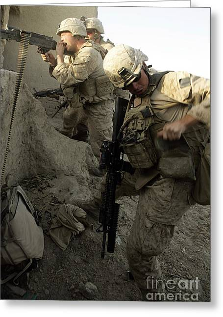 Fed Greeting Cards - A U.s. Marine Reaches For More Rounds Greeting Card by Stocktrek Images