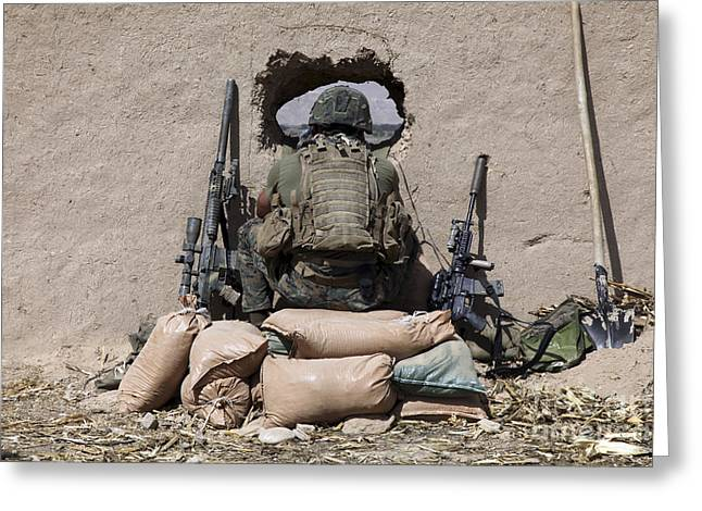 Sangin Greeting Cards - A U.s. Marine Sniper Observes Greeting Card by Stocktrek Images