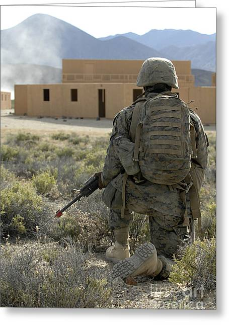 Vigilant Greeting Cards - A U.s. Marine Watches For Simulated Greeting Card by Stocktrek Images