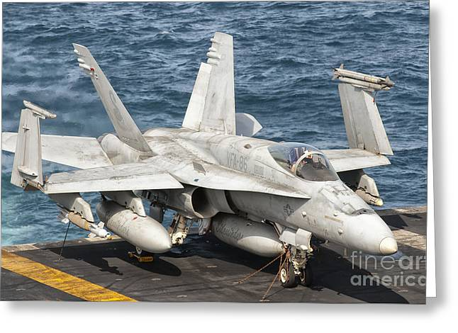 Us Open Photographs Greeting Cards - A Us Navy Fa-18c Hornet Tied Greeting Card by Giovanni Colla