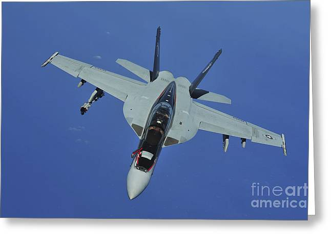 F-18 Greeting Cards - A U.s. Navy Fa-18f Super Hornet Greeting Card by Stocktrek Images