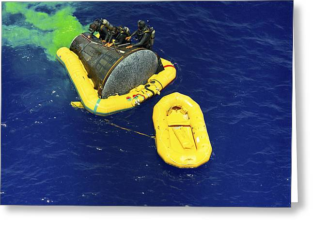 Boats On Water Greeting Cards - A U.s. Navy Frogman Team Helps Greeting Card by Stocktrek Images