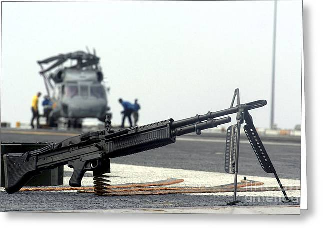 Fed Greeting Cards - A U.s. Navy Saco 7.62 Mm M60 Machine Greeting Card by Stocktrek Images