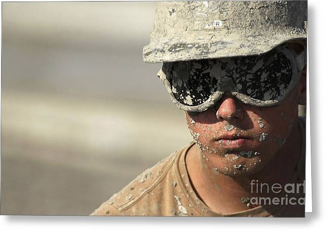 Construction Helmet Greeting Cards - A U.s. Navy Seabees Pours Cement Greeting Card by Stocktrek Images