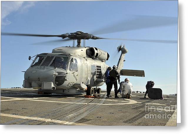 Helipad Greeting Cards - A U.s. Navy Sh-60b Seahawk Helicopter Greeting Card by Stocktrek Images