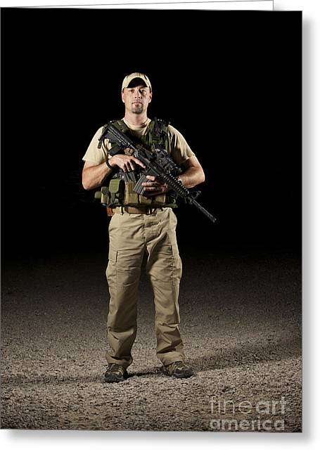 Police Officer Greeting Cards - A U.s. Police Officer Contractor Greeting Card by Terry Moore