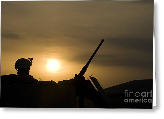 .50 Caliber Greeting Cards - A Us Soldier Mans His .50 Caliber While Greeting Card by Terry Moore