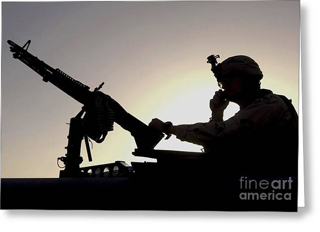 A U.s. Soldier Talks On A Hand Mike Greeting Card by Stocktrek Images