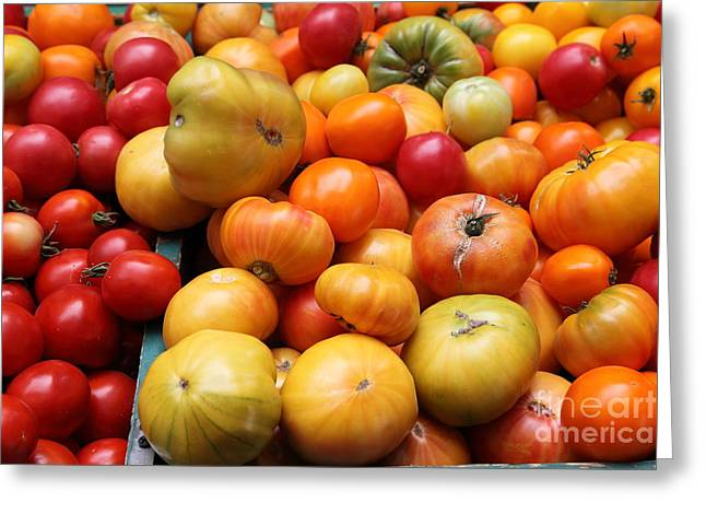 Vegetable Basket Greeting Cards - A Variety of Fresh Tomatoes - 5D17811 Greeting Card by Wingsdomain Art and Photography