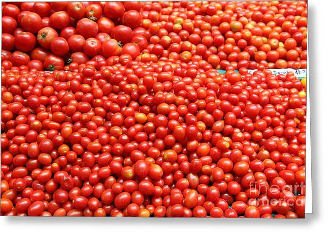 Vegetable Basket Greeting Cards - A Variety of Fresh Tomatoes - 5D17833 Greeting Card by Wingsdomain Art and Photography