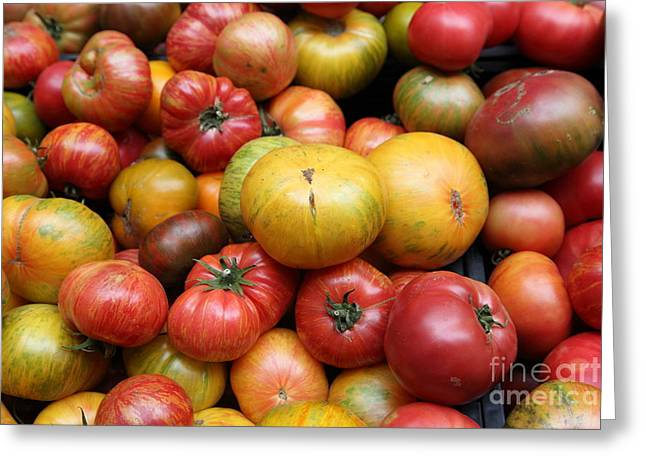 Vegetable Basket Greeting Cards - A Variety of Fresh Tomatoes - 5D17840 Greeting Card by Wingsdomain Art and Photography
