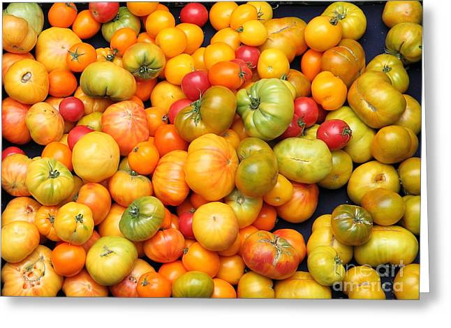 Vegetable Basket Greeting Cards - A Variety of Fresh Tomatoes - 5D17904 Greeting Card by Wingsdomain Art and Photography