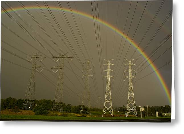 Consumption Greeting Cards - A Vast Array Of Electrical Towers Greeting Card by Jason Edwards