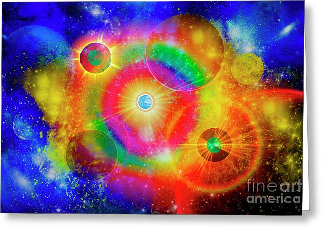 Twinkle Greeting Cards - A Vast Gaseous Nebula Illuminated Greeting Card by Mark Stevenson