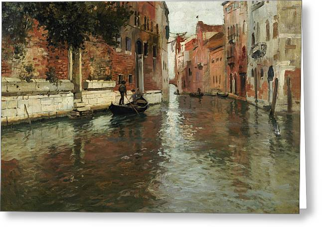 Hidden Greeting Cards - A Venetian Backwater  Greeting Card by Fritz Thaulow