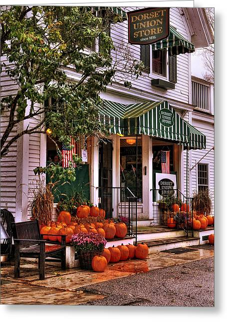 New England Village Scene Greeting Cards - A Vermont Classic - Dorset Union Country Store Greeting Card by Thomas Schoeller