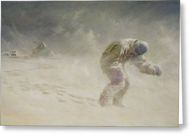 Freezing Greeting Cards - A very gallant gentleman Greeting Card by John Charles Dollman