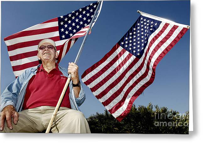 Patriot Photography Greeting Cards - A Veteran Shows His Patriotism Greeting Card by Stocktrek Images