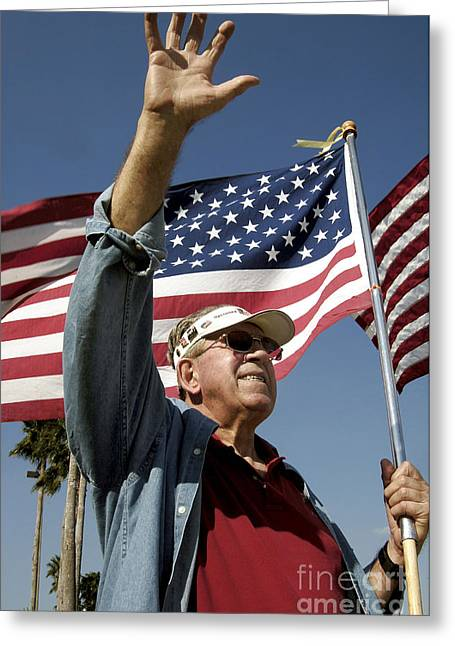 Nationalists Greeting Cards - A Veteran Waves To Members Of Macdill Greeting Card by Stocktrek Images