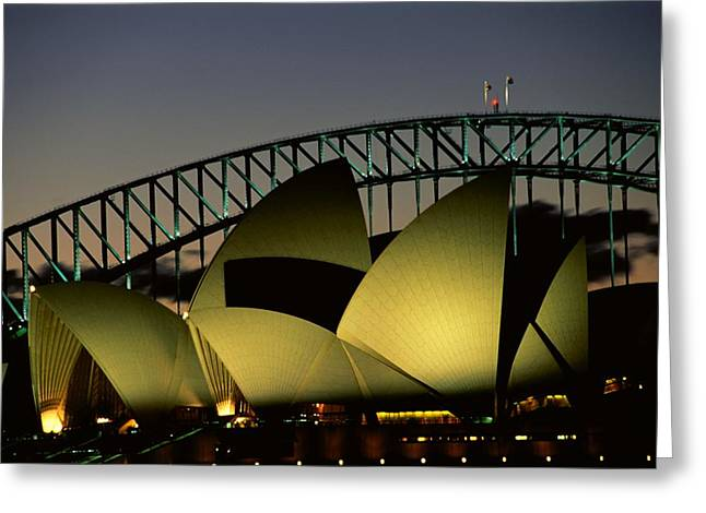 City Lights And Lighting Greeting Cards - A View At Night Of The Famed Sydney Greeting Card by Medford Taylor