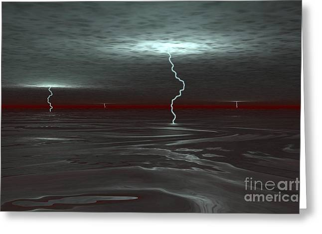 Images Lightning Digital Art Greeting Cards - A View Below The Gas Clouds Of Jupiters Greeting Card by Walter Myers