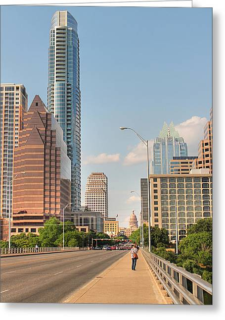 Frost Bank Building Greeting Cards - A View Down Congress Street Austin Texas Greeting Card by Sarah Broadmeadow-Thomas