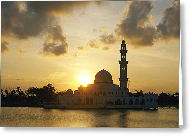 Indochinese Architecture And Art Greeting Cards - A View Of A Mosque Silhouetted Greeting Card by Steve Raymer
