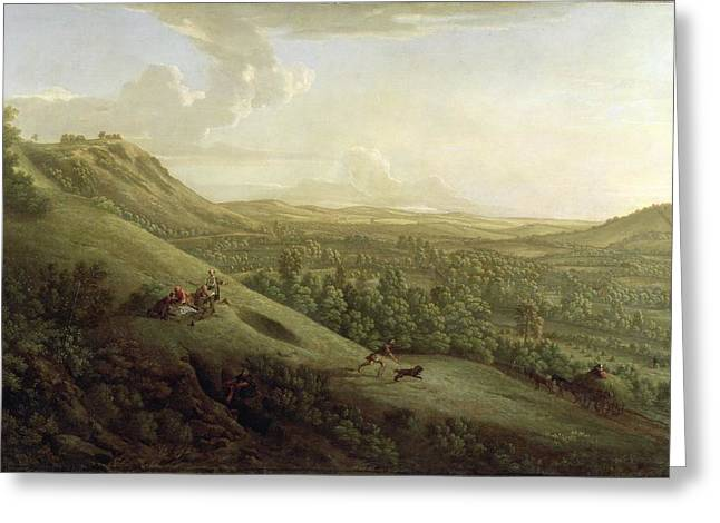 English Dog Greeting Cards - A View of Boxhill - Surrey Greeting Card by George Lambert