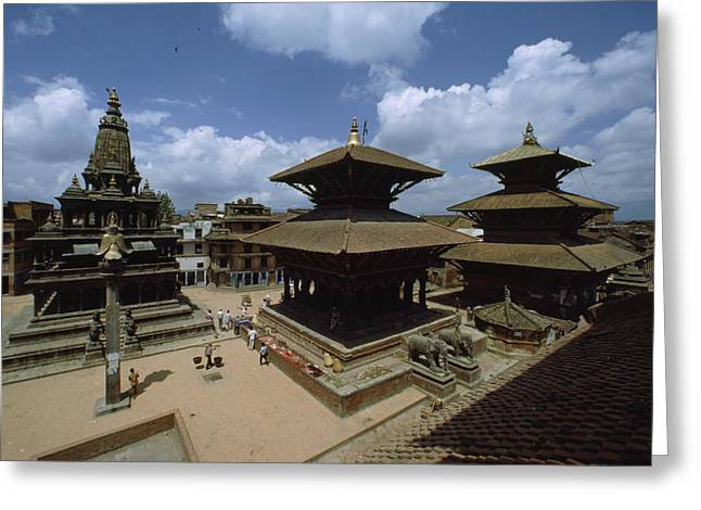 Sculptures Of Deities Greeting Cards - A View Of Durbar Square Showing Greeting Card by James P. Blair