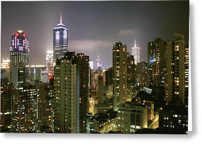 Emergence Greeting Cards - A View Of Illuminated Hong Kong Greeting Card by Justin Guariglia