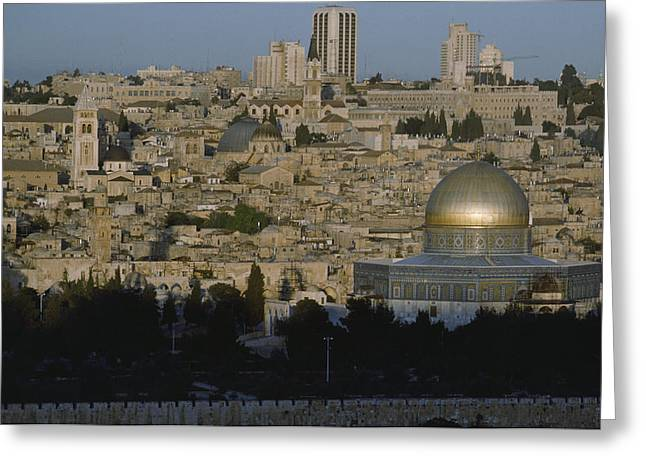Old And New Greeting Cards - A View Of Jerusalems Old City Greeting Card by James L. Stanfield
