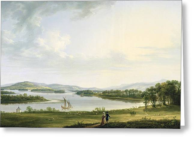 Lough Greeting Cards - A View of Knock Ninney and Part of Lough Erne from Bellisle - County Fermanagh  Greeting Card by Thomas Roberts