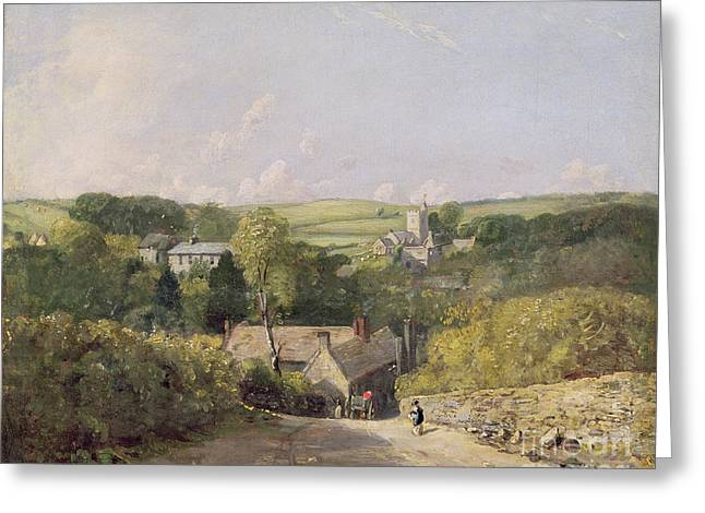 The Church Greeting Cards - A View of Osmington Village with the Church and Vicarage Greeting Card by John Constable