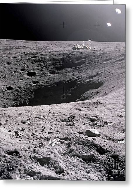 Roving Greeting Cards - A View Of Plum Crater On The Lunar Greeting Card by Stocktrek Images