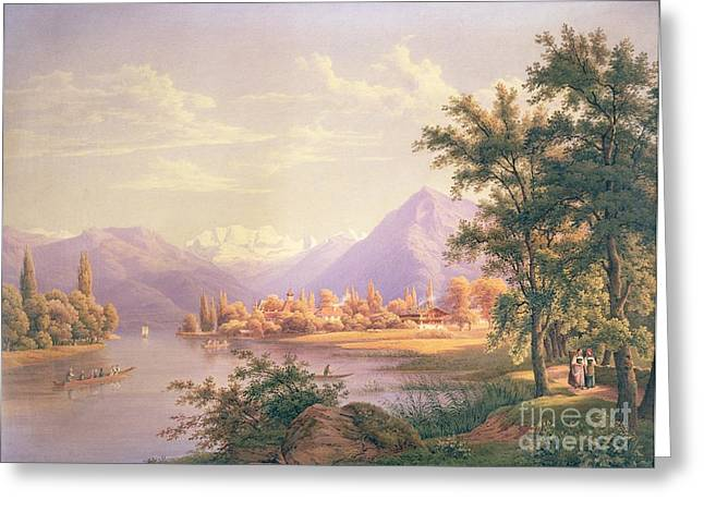 People Walking Greeting Cards - A View of Scherzingen on the Lake of Thun Greeting Card by Jakob Suter