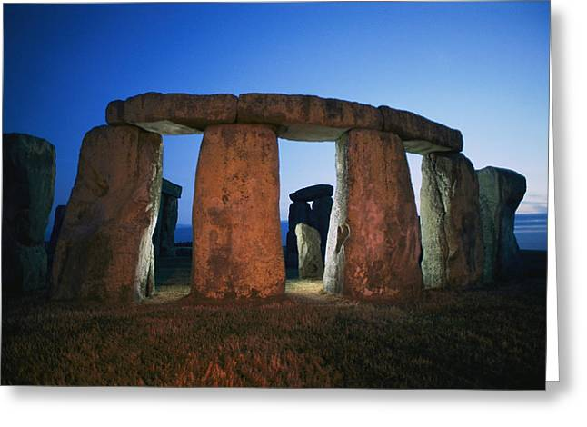 A View Of Stonehenge Silhouetted Greeting Card by Richard Nowitz