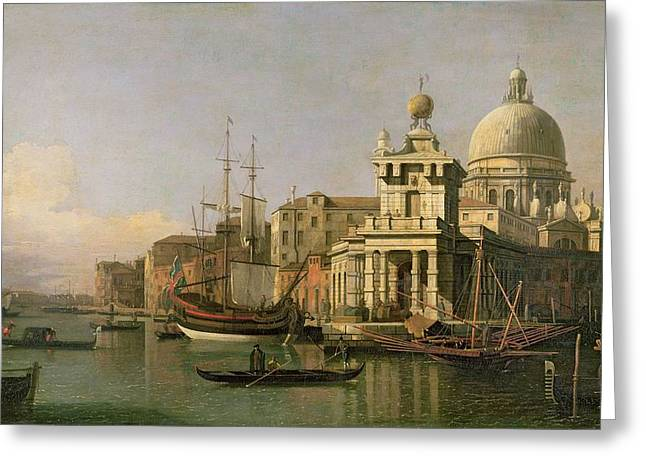 Canaletto Greeting Cards - A view of the Dogana and Santa Maria della Salute Greeting Card by Antonio Canaletto