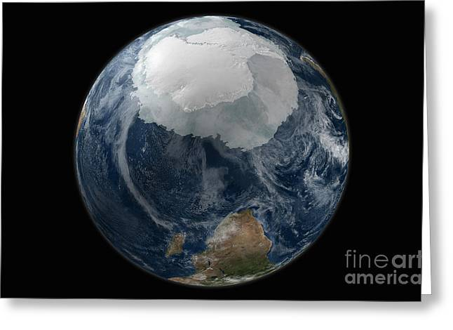 A View Of The Earth With The Full Greeting Card by Stocktrek Images
