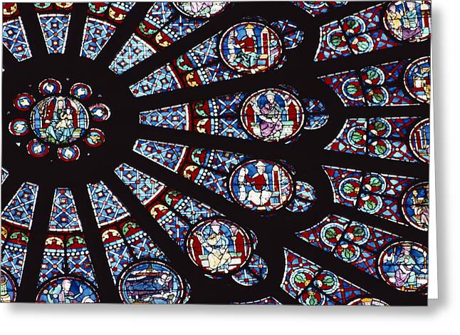Interior Scene Greeting Cards - A View Of The Famed Rose Window Greeting Card by Carsten Peter