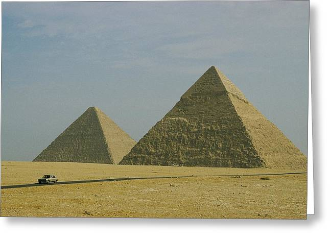 Pyramids Greeting Cards - A View Of The Great Pyramids Of Giza Greeting Card by Bill Ellzey