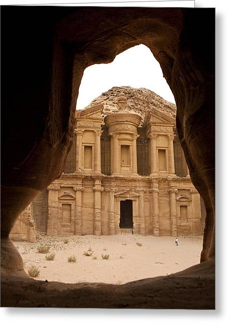 Petra Greeting Cards - A View Of The Monastary In Petra Greeting Card by Taylor S. Kennedy