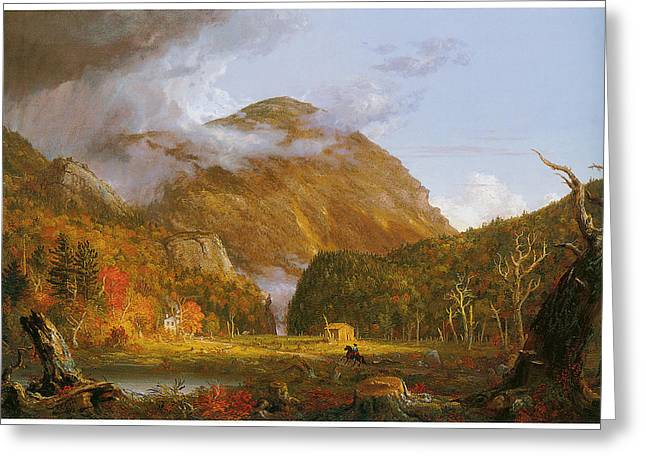 Cole Paintings Greeting Cards - A View of the Mountain Pass Called the Notch of the White Mountains Greeting Card by Thomas Cole