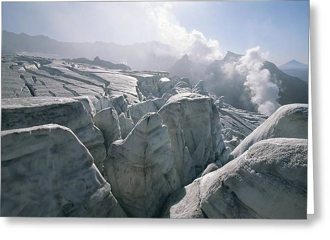 Geological Formations Greeting Cards - A View Of The Mudnovsky Glacier Greeting Card by Carsten Peter