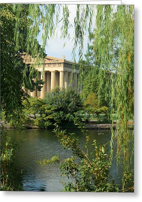 Willow Lake Greeting Cards - A View of the Parthenon 1 Greeting Card by Douglas Barnett