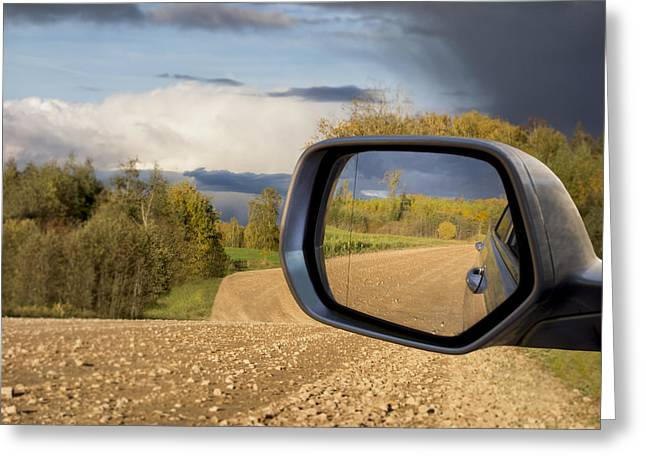 Rearview Greeting Cards - A View Of The Road Behind A Vehicle Greeting Card by Jaak Nilson