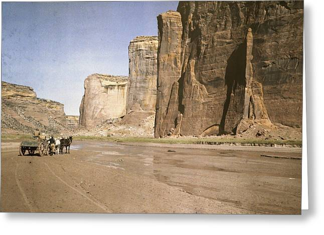 Del Muerto Greeting Cards - A View Of The Rock Formations At Canyon Greeting Card by Edwin L. Wisherd
